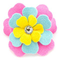 Perfect Pink, Blue & Yellow Fantasy Flower Dog Hair Clip, Swarovski Crystals by Susan Lanci