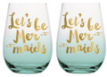 Let's Be Mermaids Stemless Wine Glasses w Gold Lettering
