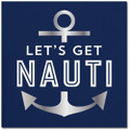 Set of 20 Let's Get Nauti Cocktail Napkins w Silver Metallic Accents