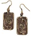 Anju Brass Patina Mixed Metal Gold Tone Swirl Earrings