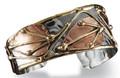 Anju Swirl Mixed Metal Brass & Copper Cuff Bracelet with Leaf Design