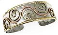 Anju Swirl Mixed Metal Brass & Copper Swirl Cuff Bracelet
