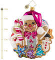 Christopher Radko Spoiled With Sweets Gingerbread Man Christmas Glass Ornament