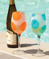 Set of 2 Assorted Frosted Wine Glasses with Aqua and Orange Polka Dots