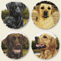 Set of Four Assorted Labrador and Retriever Dog Coasters
