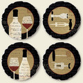 Deco Wine Image Tumbled Stone Coasters