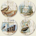 Set of 4 Assorted Seascape Images Tumbled Stone Coasters