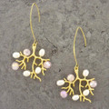 Pink and White Freshwater Pearls on Gold Branch Earrings