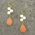 Coral Dangle Earring with Freshwater Pearl Accents