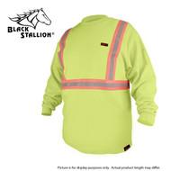 Black Stallion FR Cotton Long Sleeve Shirt, Lime Green, Reflective (X-LARGE)