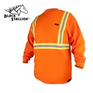 Black Stallion FR Cotton Long Sleeve Shirt, Safety Orange, Reflective (X-LARGE)