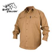Black Stallion FR Cotton Long Sleeve Work Shirt - Khaki (FS7-KHK)