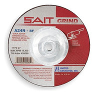 "Sait 4-1/2"" x 1/4"" x 5/8-11"" Type 27 Depressed Center Grinding Wheel A24 (20160)"