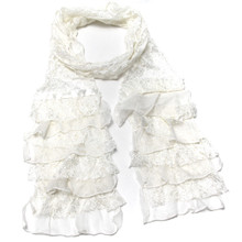 Beige Layered Dressy Lace Scarf