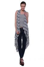 Women's Striped Sleeveless Cardigan / Vest