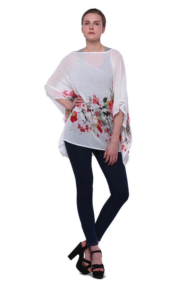 f7c9a5fe5175c8 Chiffon Floral Chiffon Poncho Blouse - Scarf&