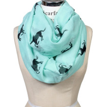 Horse Icon Animal Print Lightweight Sheer Infinity Scarf