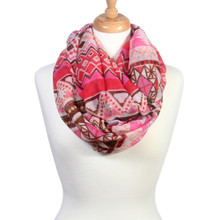 Lightweight Sheer Tribal Print Infinity Scarf