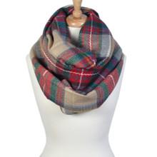 Large Tartan Print Soft & Warm Infinity Style Blanket Scarf