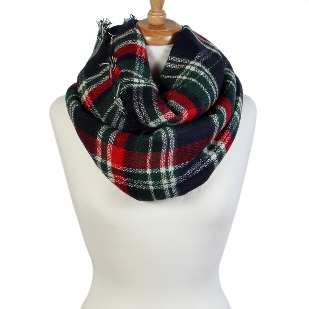 b2c1b8cd9 Large Tartan Print Soft & Warm Infinity Style Blanket Scarf - Scarf&