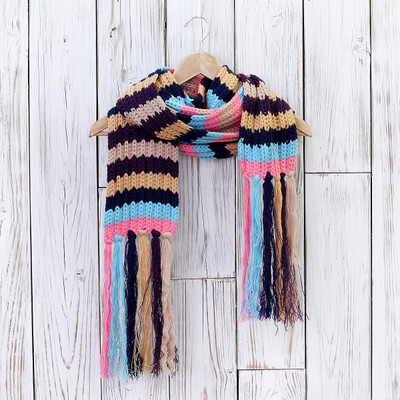 Knit Winter Scarf With Hat Gloves Set