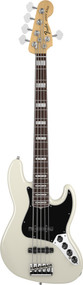 Fender American Deluxe Jazz Bass V Rosewood Olympic White 5 String Bass Guitar