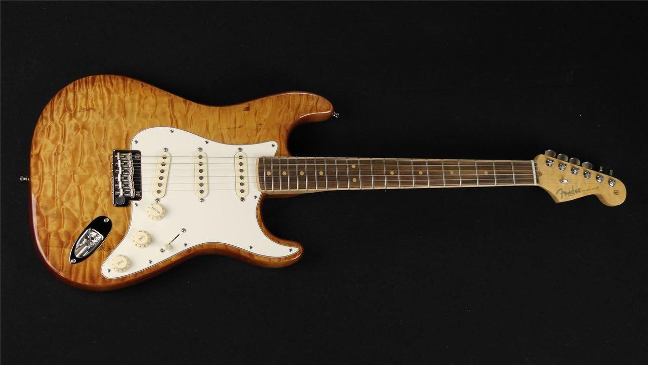 Fender Select Stratocaster Exotic Quilt Rosewood - Ice Tea Burst