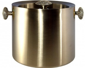 Stainless Steel Ice Bucket with Cut Crystal by Alan Lee