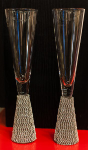Set of 2 Champagne Flutes, Silver and Cut Crystal by Alan Lee