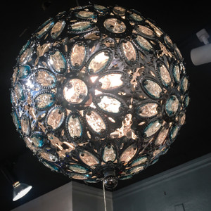 Spherical Metal Chandelier with Flower Crystals