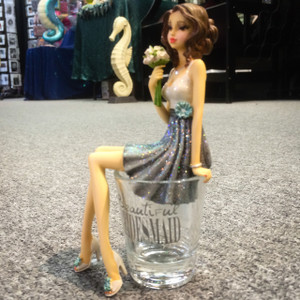 Beautiful Bridesmaid Shot Glass with Doll