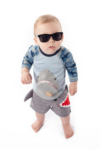 Bohdi is adding that extra cool to this shark outfit