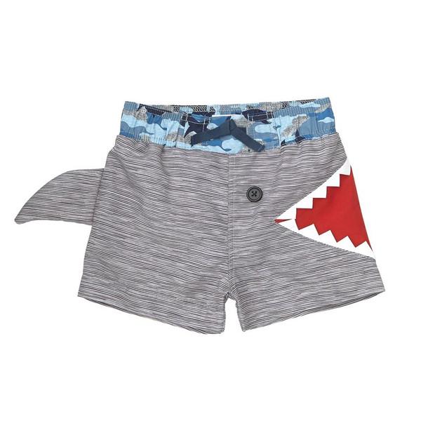 Grey & Camo Shark Fin Swim Trunks, UPF 50+