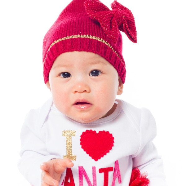 Mud Pie Red Knit Sparkle Bow Hat, featuring the darling Riley as our model