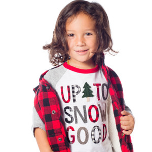 "Christmas Shirt for Kids, ""Up to Snow Good,"" modeled so wonderfully by Benicio"