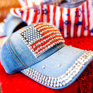 Blinged-Out Denim American Flag Cap