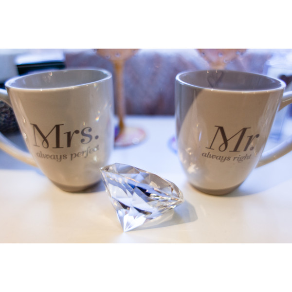 Mrs always perfect and Mr always right coffee mugs. Start your day together with a smile.