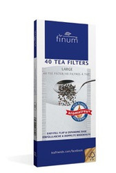 "Finum 40 Count Paper Tea Filters  The finum® disposable tea filters of natural FSC®-certified fibers, come in various sizes – perfect for any cup or large pot. A convenient ""filling flap"" prevents the mess while filling in the yerba mate or tea. These yerba mate and tea filters can also be used without a filter holder as the filling flap facilitates the removal of the filter after brewing. Due to their natural fibers (abaca pulp and cellulose), these tea filters are biodegradable. Their unique true-flavor filtering qualities and the absence of glue or any other binding agent add to their eco friendly character. They are perfect for Aviva Wild Harvest original or any of our Wild Harvest Blends made with Organic dried fruit and spices."