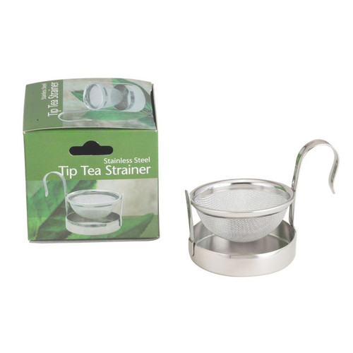 """Stainless Steel Tip Tea Strainer  Use this Tip Tea Strainer when enjoying your loose wild harvest yerba mate or yerba mate blend. Simply place the Tip Tea Strainer on the top of your cup by """"swinging"""" it away from the drip bow. After pouring your brewed yerba mate through the strainer (this will catch those loose leaves), you just swing the strainer back in place over the drip bowl to catch any drips.   The Tip Tea Strainer is made of stainless steel and is dishwasher safe."""