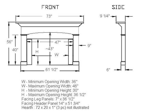 Barton Stone Mantel Illustration Diagram