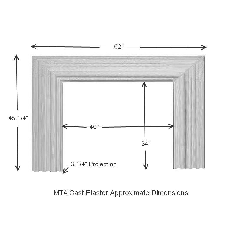 MT4 Bolection Cast Stone Mantel Dimensions