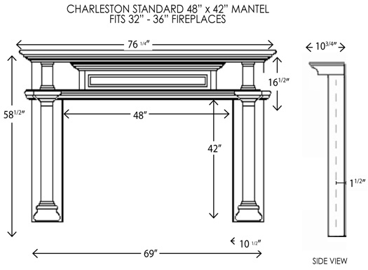 48X42 Charleston Standard Fireplace Mantel