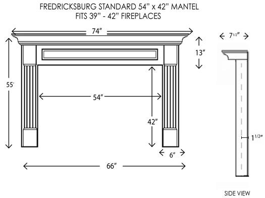 54x42fredricksburg Jpg Product Dimensions