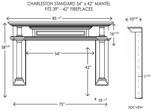 54X42 Charleston Standard Fireplace Mantel