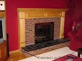 Wood mantel with Extended Leg Returns