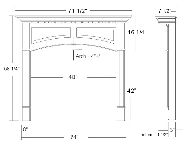 Lexington Wood Mantel Specifications
