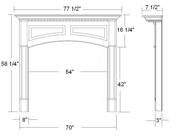 Lexington Wood Mantel Specifications | 54x42