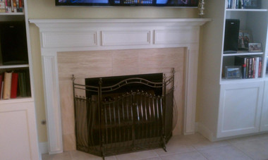 Our Danbury Fireplace Mantel was prominently featured in a living room remodeling project