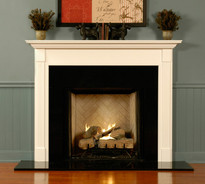 The St James mantel shown in semi gloss white.