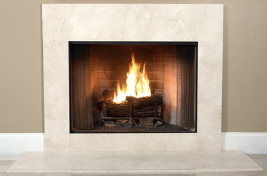 A full size Crema Marfil Marble fireplace surround facing kit for an impressive and professional designer look in beige earthtones.  An upgrade alternative to common square tiles.